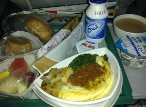 Emirates breakfast India to Dubai flight