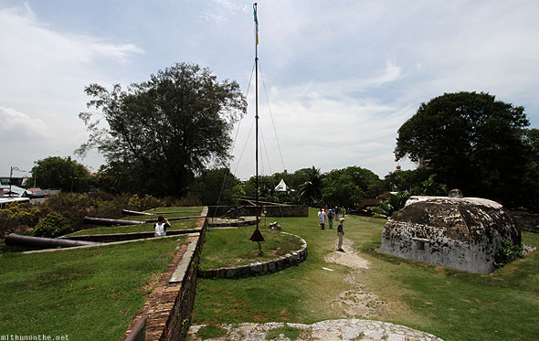 Fort Cornwallis park Penang cannons flagpole