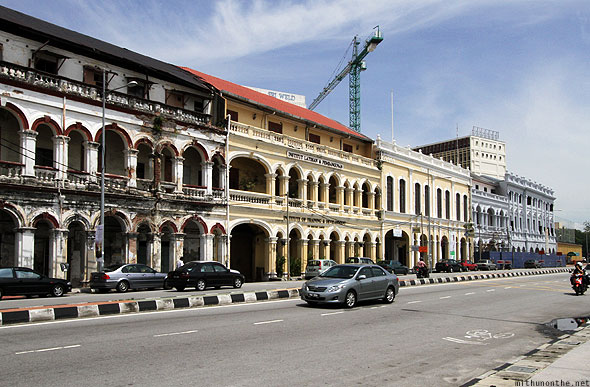 Penang Georgetown marina road old buildings