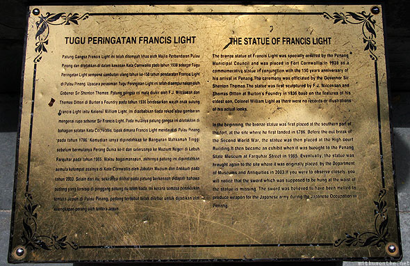 Penang The Statue of Francis Light info