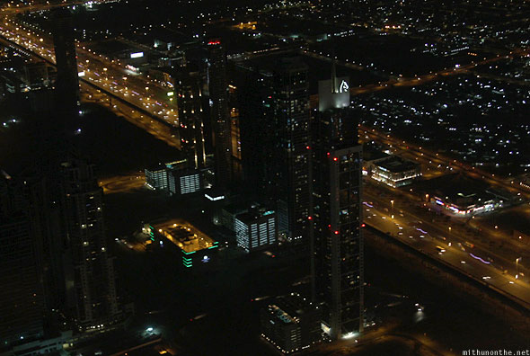 Sheikh Zayed road offices at night