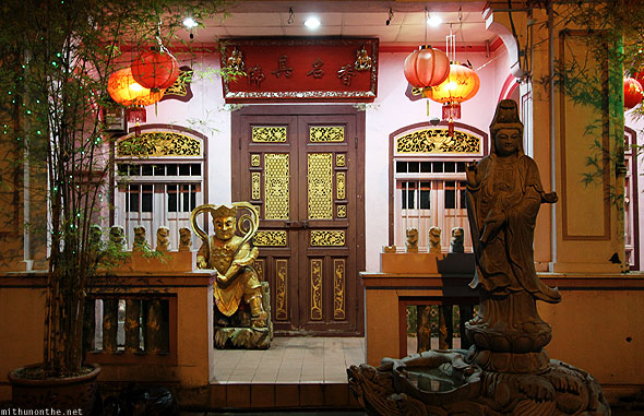 Chinese traditional sculptures at-night Georgetown Penang
