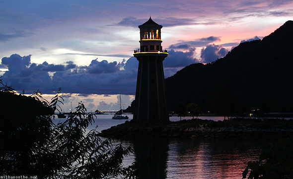 Langkawi Yacht Club lighthouse sunset purple sky