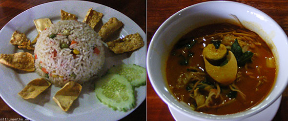 Nasi Goreng veg egg noodle soup Malay dishes