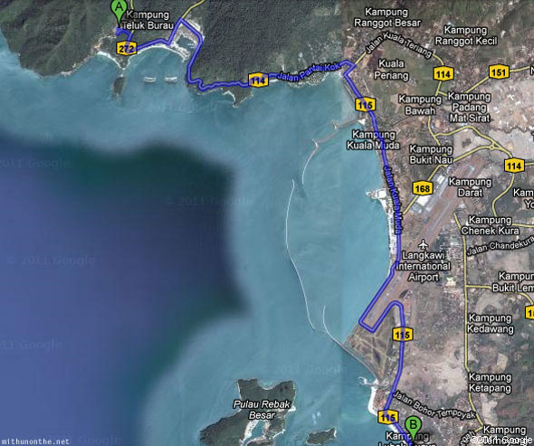 Pantai Cenang to Langkawi cable car sky bridge route map