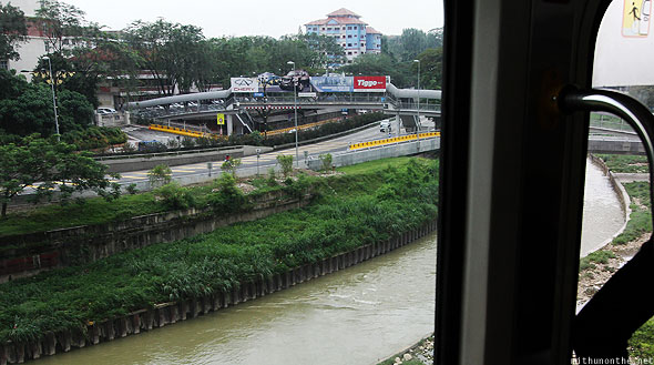 KL monorail view city river stream