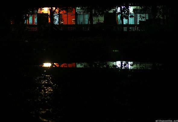 Langkawi Pantai Cenang village house lights reflection