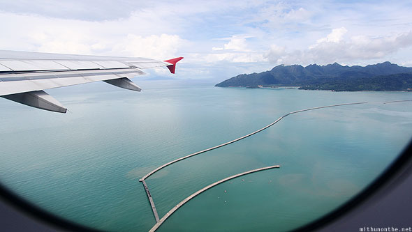 Langkawi wave breaker from plane Malaysia
