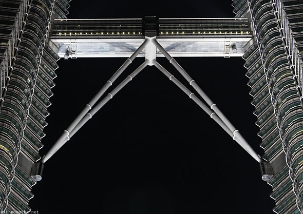 Petronas Towers observation deck bridge at night