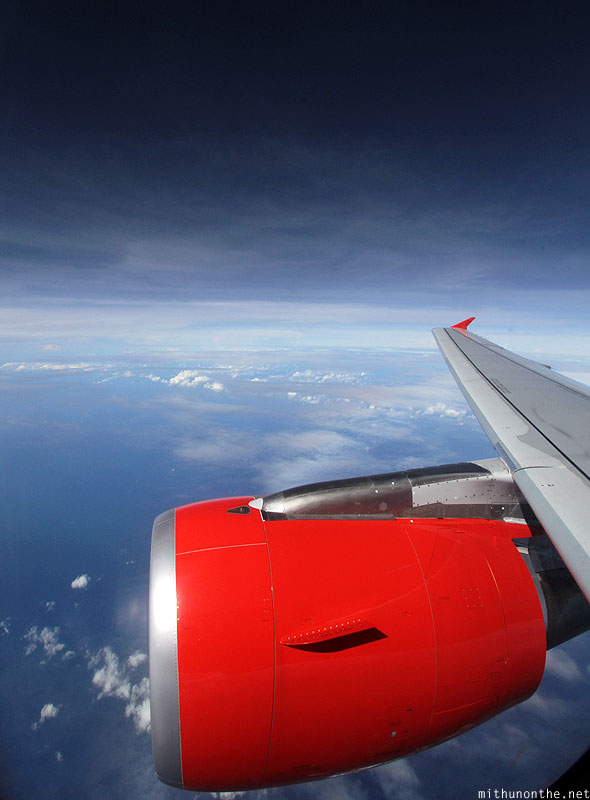Air Asia plane wing aerial view from sky