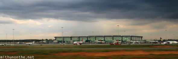 Bangalore airport dark clouds