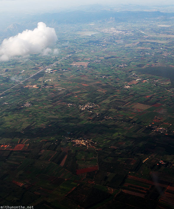 Bangalore Karnataka India farm land aerial photograph from sky