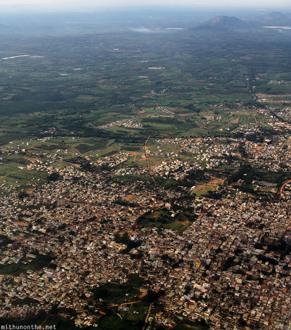 Bangalore outskirts aerial view from plane