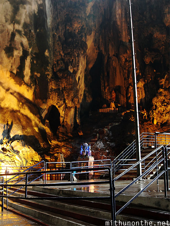 Batu Caves stairs inside lighting panorama
