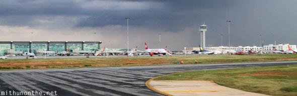 BIAL airport Bangalore rainy day