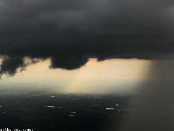 Dark rain clouds from plane Bangalore