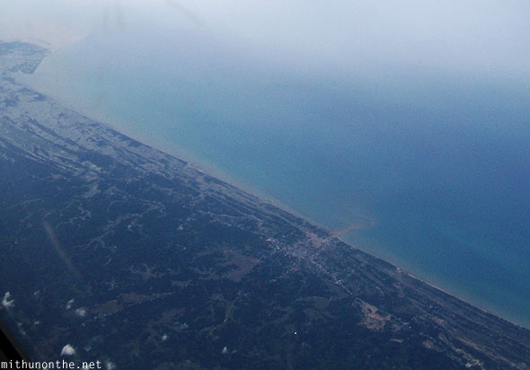 Indonesia shores from Malaysia aerial view