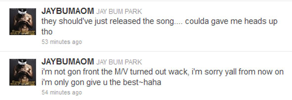 Jay Park Demon MV tweet