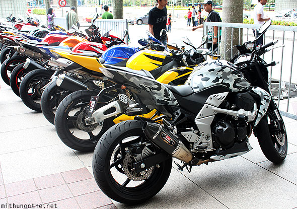KLCC Petronas superbikes display parked