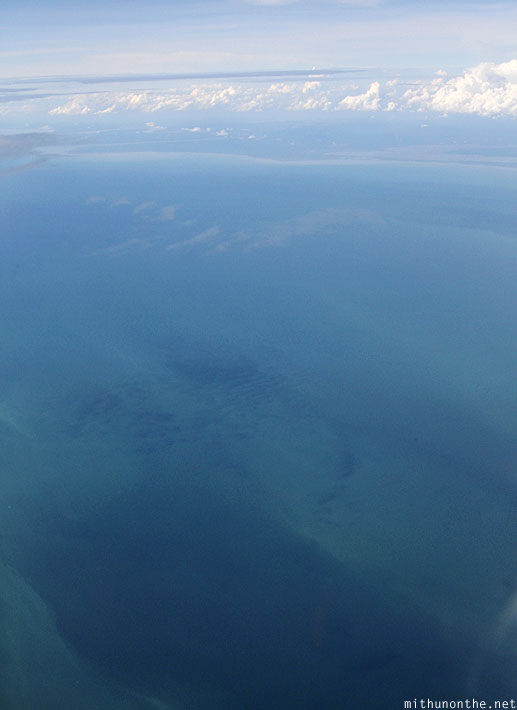 Malacca Strait aerial view from plane