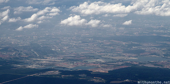 Malaysia town from sky plane