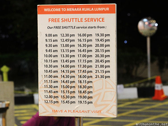 Menara KL Tower free shuttle service
