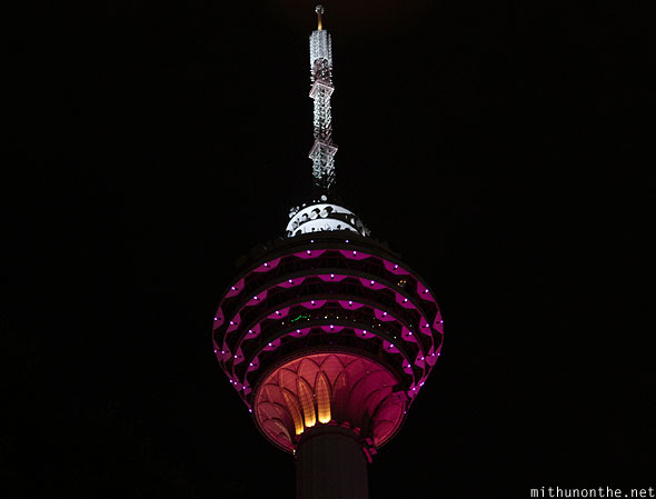 Menara KL tower lit up night