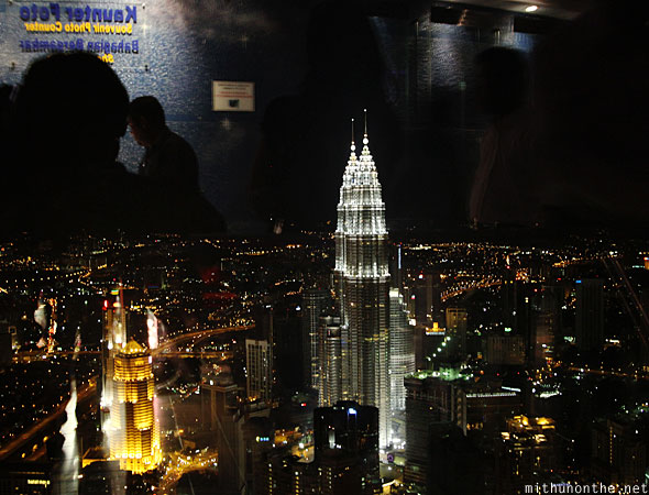 Menara KL tower observation deck glass reflection