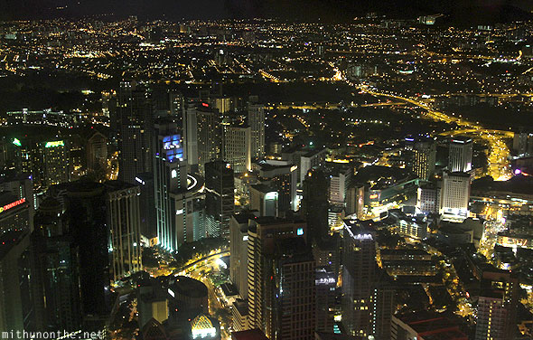 Menara KL tower observation deck view city lights