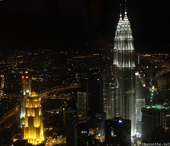 Menara KL tower top view Public Bank Petronas buildings