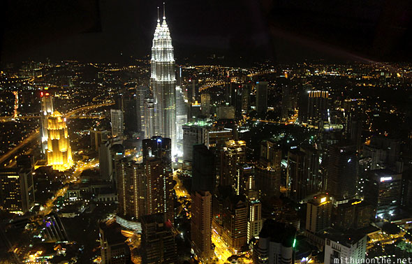 Menara KL tower view of Kuala Lumpur city at night