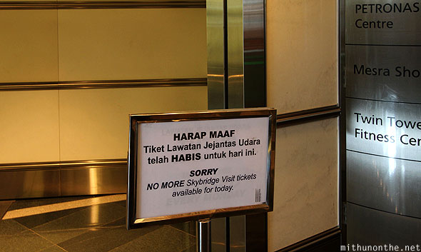 Petronas Tower skybridge tickets sold out timing