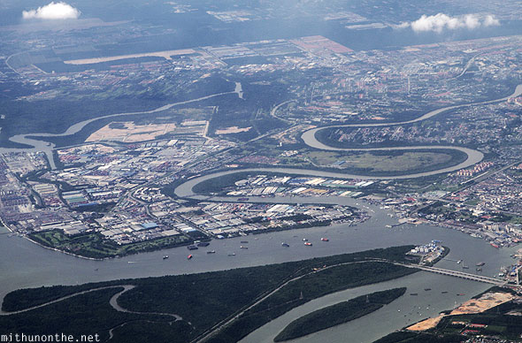 Port Klang Malaysia from sky plane