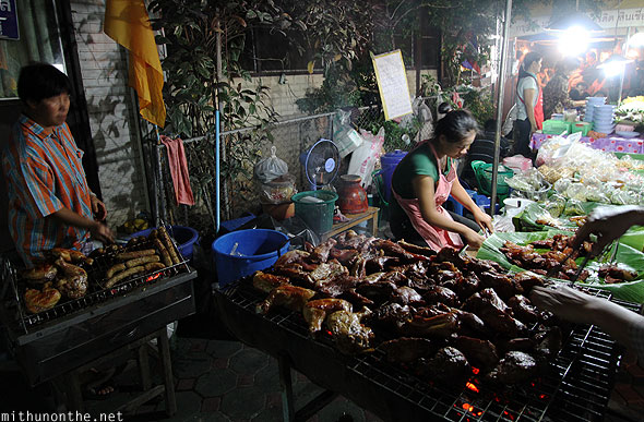 Barbecued meat street food Chiang Mai Thailand