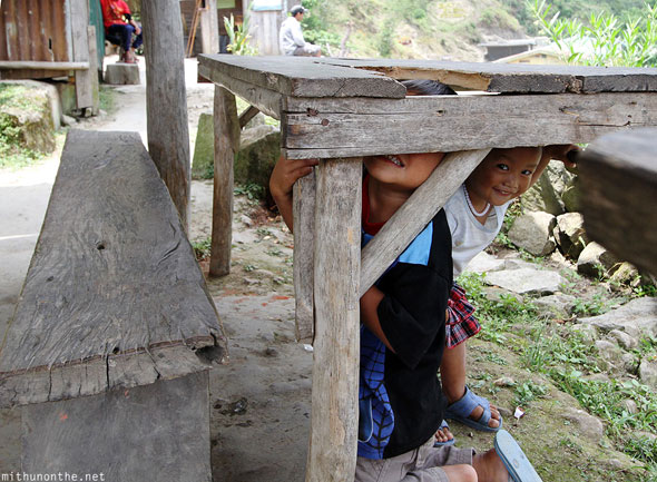 Batad hide and seek village children Banaue Philippines