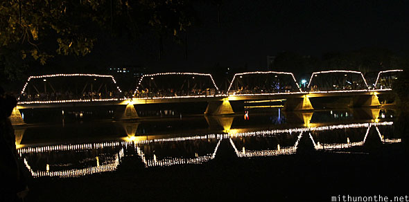 Chiang Mai bridge lighting decorations Yi Peng festival