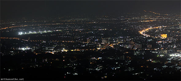 Chiang Mai city at night panorama