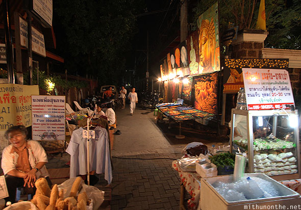 Chiang Mai Loy Krathong Ratchadamnoen road alley paintings for sale Thailand