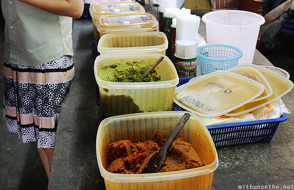 Chiang Mai market Thai green red curry paste