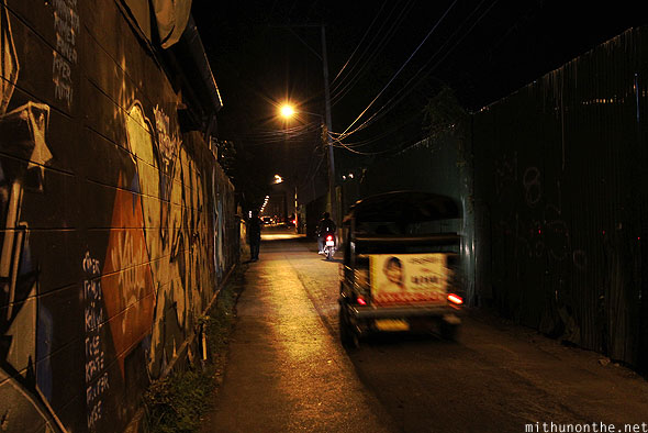 Chiang Mai night alley grafitti