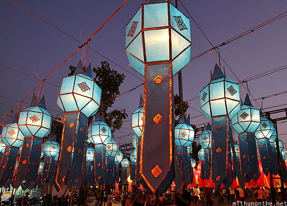 Chiang Mai Thapae blue lanterns Yi Peng celebrations