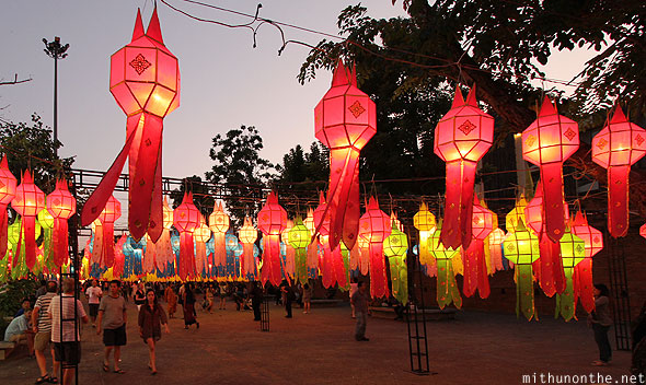Chiang Mai Thapae gate Loy Krathong lantern decorations