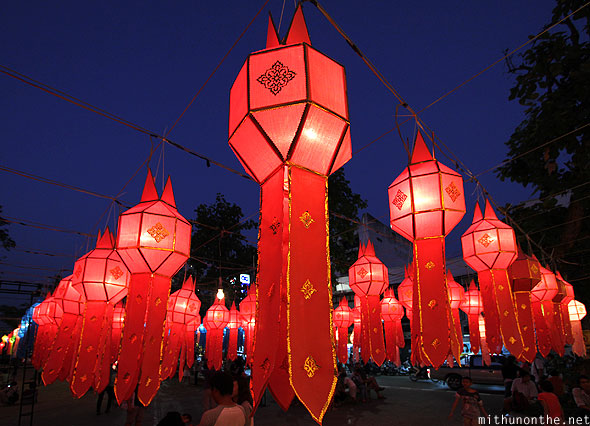 Chiang Mai Thapae red lanterns Yi Peng celebrations