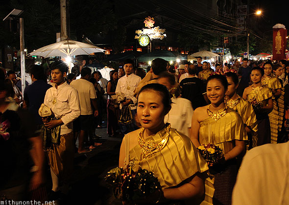 Chiang Mai Loi Kathrong parade Thai traditional dressed girls