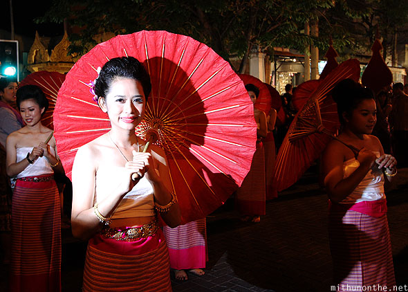 Chiang Mai Loy krathong grand parade flash girl umbrella Thailand