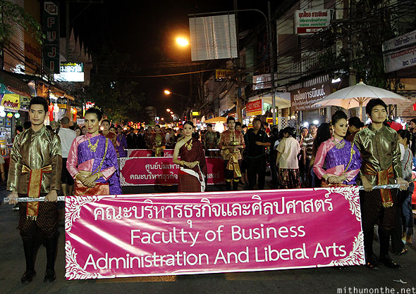 College students parade Loy Krathong Chiang Mai Thailand