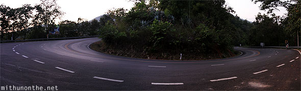 Doi Suthep hill road corner turning panorama