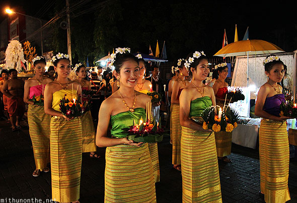 Loi Krathong grand parade traditional girls Chiang Mai Thailand