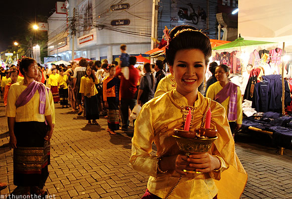 Loi Krathong parade Thai girl Chiang Mai