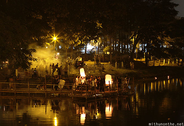 Loy Krathong celebrations Chiang Mai ping river bank Thailand